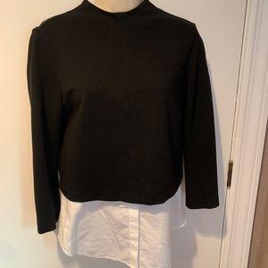 Theory knit shirt tail layered top